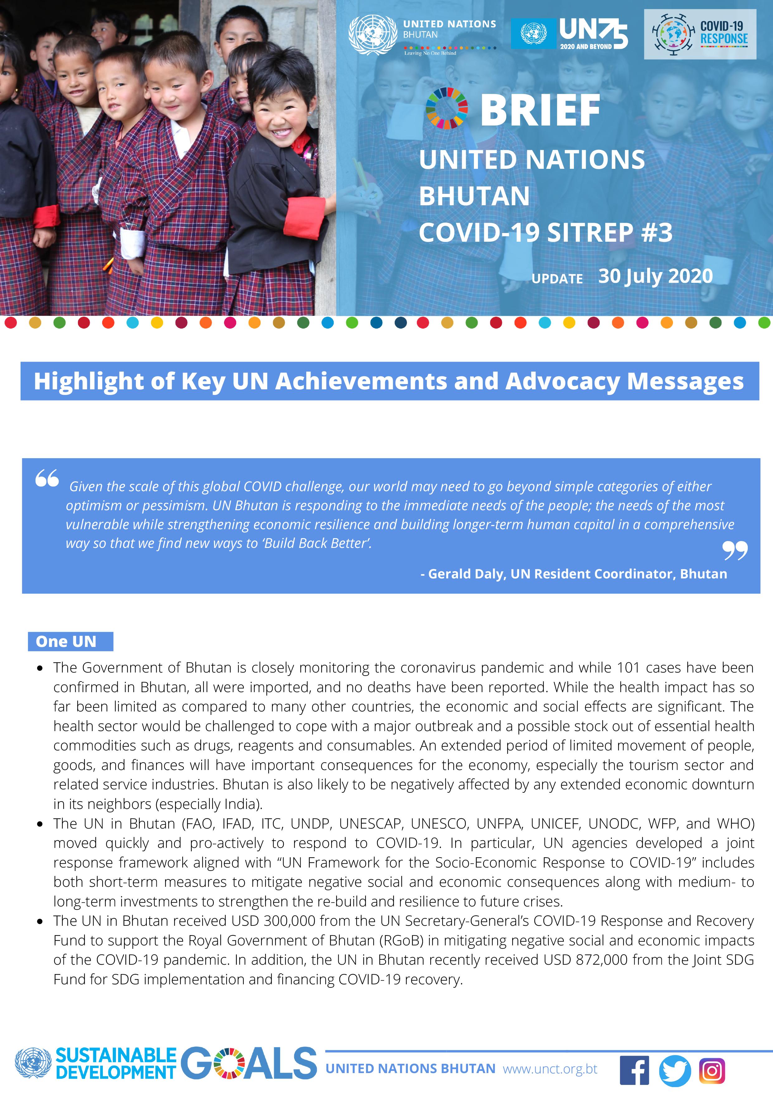 UN Bhutan COVID-19 Sitrep #3 – July