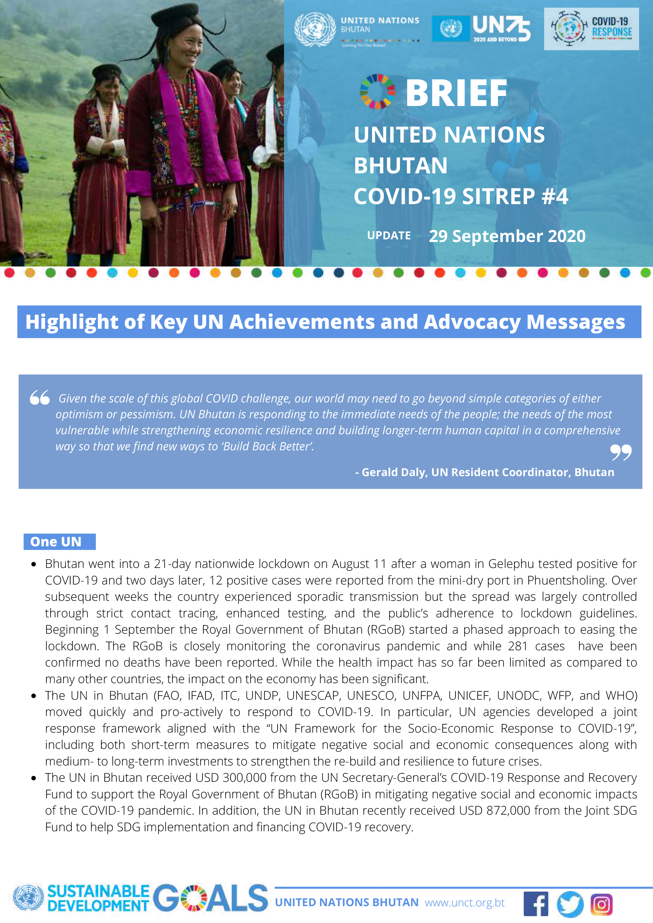 UN Bhutan COVID-19 Sitrep #4 – September