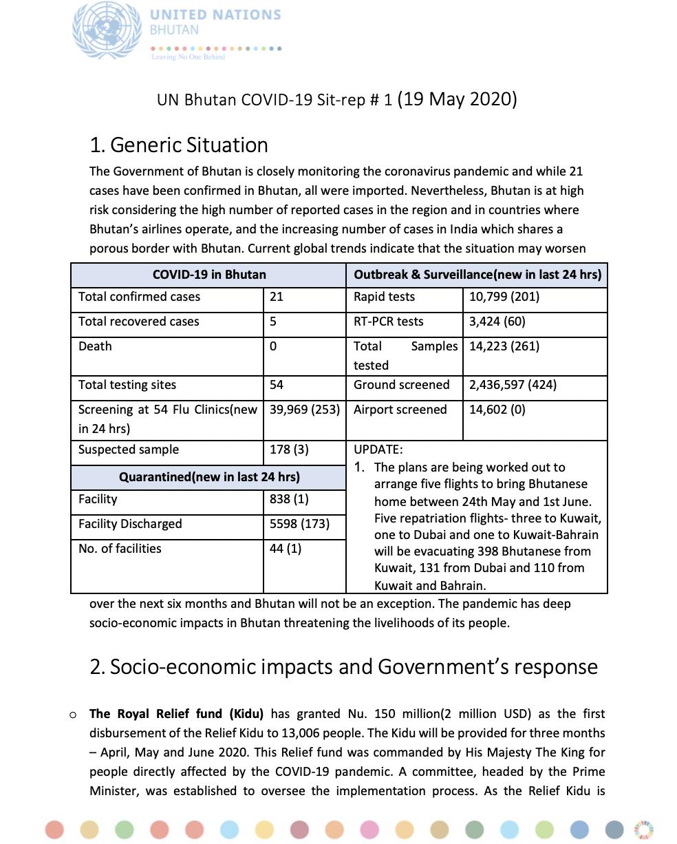 UN Bhutan COVID-19 Sitrep #1 – May