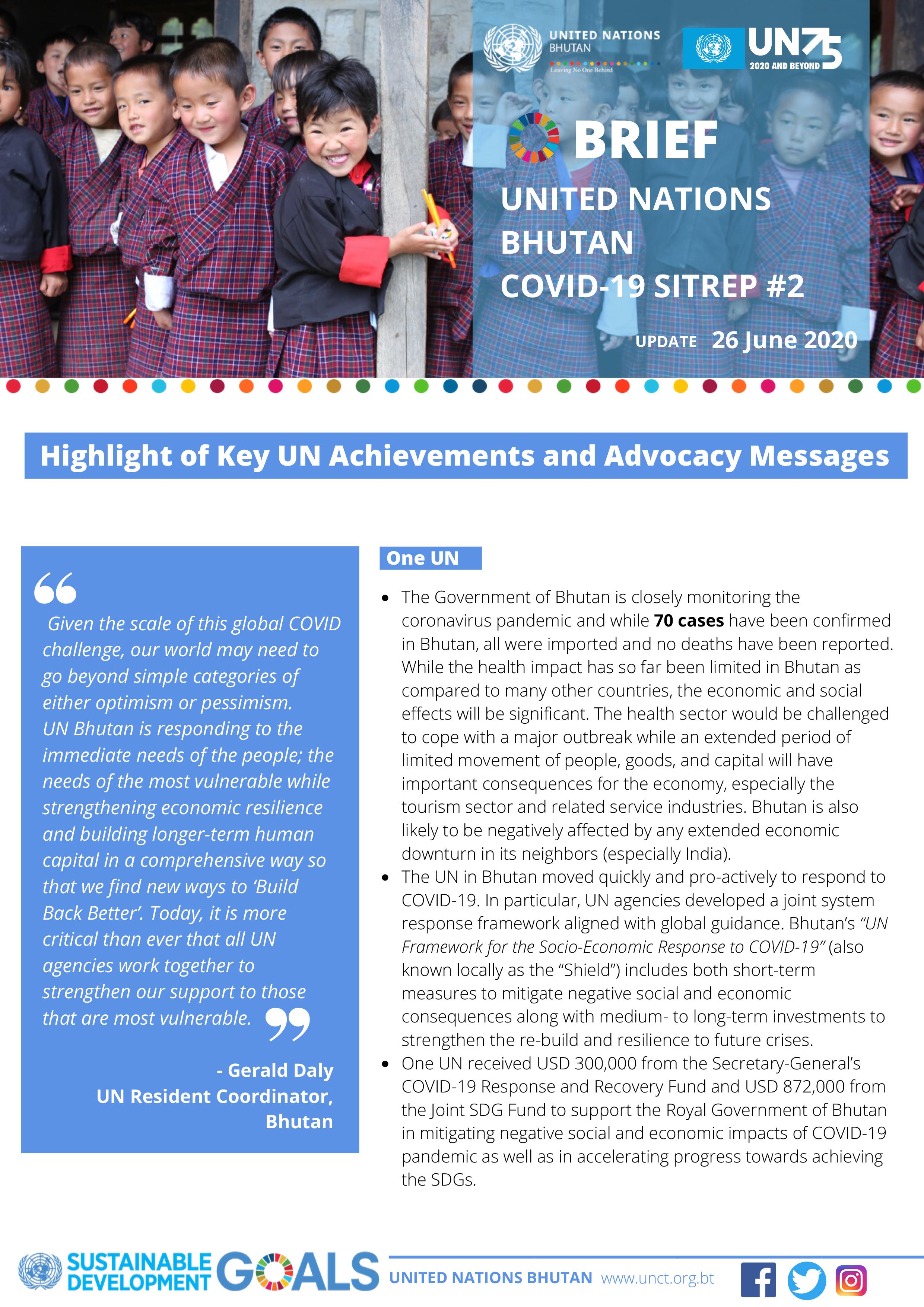 UN Bhutan COVID-19 Sitrep #2 – June