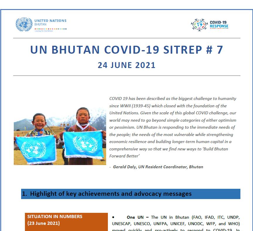 UN Bhutan COVID-19 Sitrep #7- June 2021