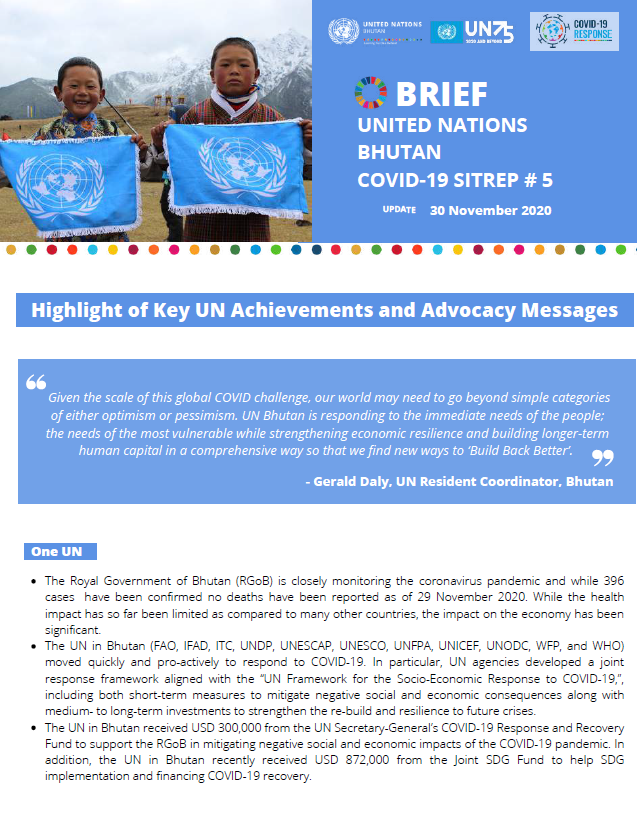 UN Bhutan COVID-19 Sitrep #5- November 2020