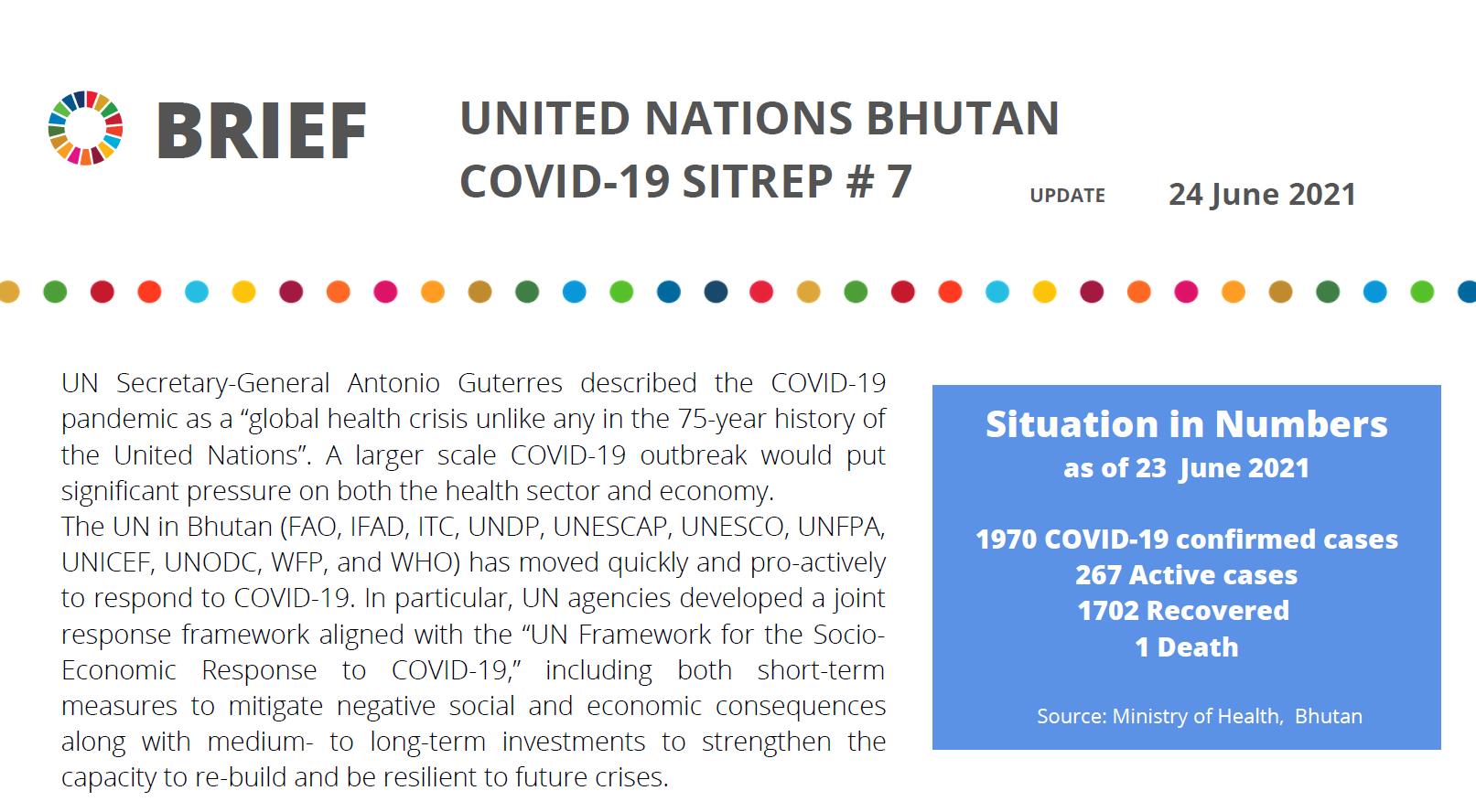 [Summary: 2 pages] UN Bhutan COVID-19 Sitrep #7